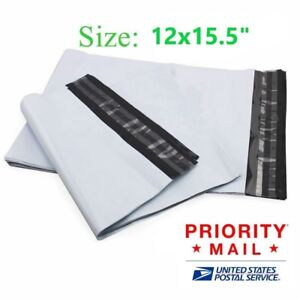 100 200 300 500 1000 12 X 15 Poly Mailers White Envelope Plastic Shipping Bag