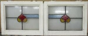 Pair Of Old English Stained Glass Windows Pretty Band Design 21 X 16 75