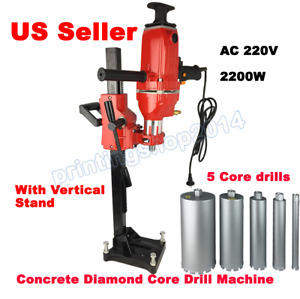 220v Concrete Diamond Core Drill Machine With Vertical Stand Water Drilling