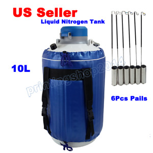 New 10l Liquid Nitrogen Tank Cryogenic Container Ln2 Dewar 6pcs Pails lock Cover