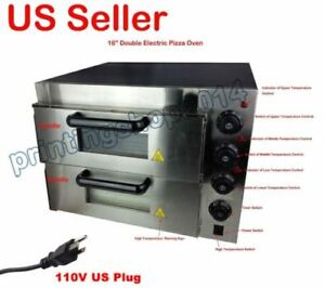 New 110v 16 Double Deck Electric Pizza Oven Commercial Ceramic Stone