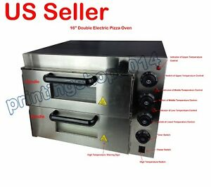New 220v 16 Double Deck Electric Pizza Oven Commercial Ceramic Stone