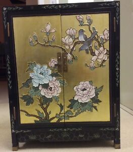 Chinese Furniture Gold Foil Hand Engraved And Painted Wooden Lacquered Cabinet