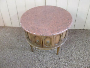 49958 Round Marble Top Modern Lamp Drum Table Stand