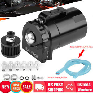 Cylinder Aluminum Engine Oil Catch Reservoir Breather Tank Can W Filter Black