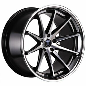 4 New 20x9 Rohana Rc10 Black Machine W Ss Lip 5x112 35 Wheels Audi Mercedez