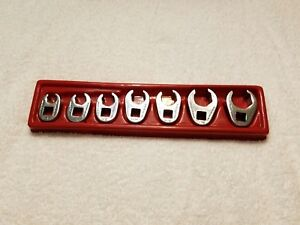 Snap on Tools 3 8 Drive 7 Pc Sae Flare Nut 6 Pt Crowfoot Wrench Set Usa