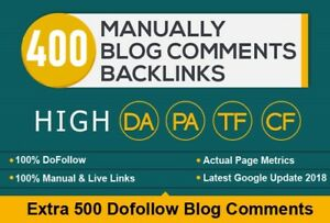 400 High Pa Da Blog Comment Backlinks Done Manually