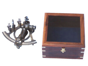Sextant 6 Antique Brass Finish W Wooden Display Case Nautical Desktop Decor