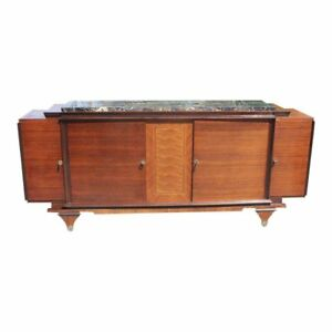 Classic French Art Deco Exotic Macassar Ebony Sideboard Buffet Marble Top