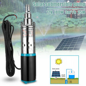 180w Dc 12v 3m h Solar Water Pump Submersible Bore Hole Pond Deep Well Pump New