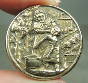 Brass Picture Button You Dirty Boy Metal