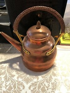 Arts Crafts Hammered Copper Brass Tea Pot W Woven Handle Wmf