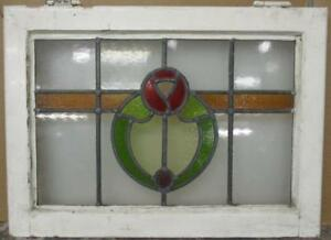 Mid Sized Old English Leaded Stained Glass Window Nice Floral Band 24 X 17 25