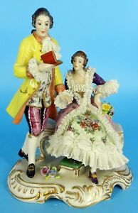 Dresden Volkstedt Figurine German Lace Porcelain Figurine Beautiful Couple Group