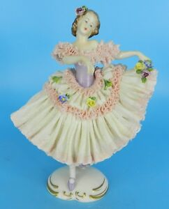 Dresden Volkstedt Figurine German Lace Porcelain Figurine Ballerina Dancer 7 7
