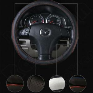 38cm Anti Slip Car Truck Genuine Leather Steering Wheel Cover Black And Diy New