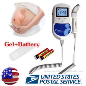 Usa Blue 3mhz Probe Fetal Dopler Baby Sound Heart Beat Monitor gel battery Fda