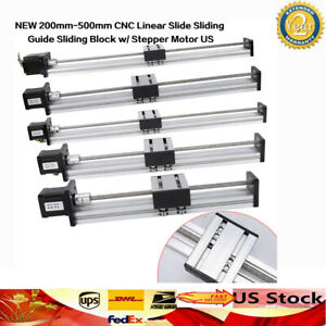 Cnc Linear Slide Sliding Guide Sliding Block 200 500mm W Stepper Motor 42 57 Us