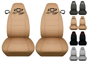 Fits Chevrolet Camaro Front Car Seat Covers Solid Tan W bowtie camaro rs ss