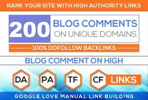 200 Unique Domains Manual Blog Comments Backlinks All High Da High Pa
