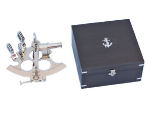 Chrome Finish Brass Sextant 6 W Black Wooden Case Nautical Tabletop Decor New