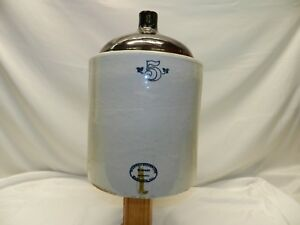 Antique 5 Gallon Western Stoneware Wiskey Beer Wine Jug Monmouth Ill