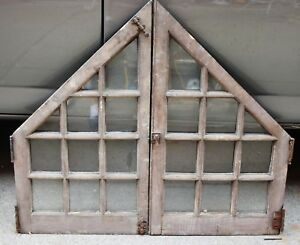 Pair Antique Window Divided Glass Shabby Cottage Chic C 1895 Frame