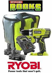Ryobi Zrp818 18 Volt Lithium Ion One Compact Drill Kit W Batteries