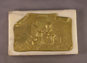 Antique Paperweight French Bronze Cherub Plaque Signed L R Piron On Marble