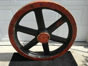 Vintage Wood Factory Pulley Flat Belt Very Unique Steampunk Extra Large 50