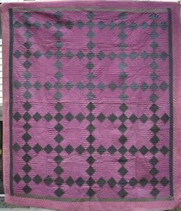 Antique Wool Amish Quilt Nine Patch 18091
