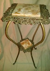 Antique Metal Brass And And Marble Decorative Fern Plant Stand
