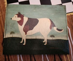Dog 8x10 Canvas Picture Primitive Art French Country Decor Warren Kimble