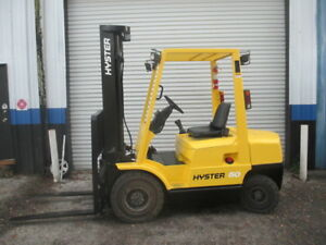 Hyster H50xm 5000lbs Diesel Forklift W Sideshift 151 Solid Pneumatic Low Hours