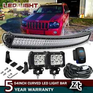 54inch Curved Led Light Bar W 4 Work Lamps For 2005 2010 Jeep Grand Cherokee Wk