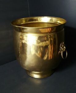 19th C England Hand Tooled Brass Pot Bucket Tall Foot Lion Ring Welded Seam