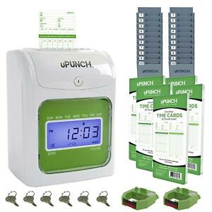 Time Clock Bundle 100 Cards 2 Ribbons 2 Rack Automatic Card Feed Align Punch Key