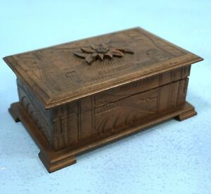 Antique Swiss Black Forest Wood Carved Jewelry Box Edelweis Fluelen C1920 Brienz