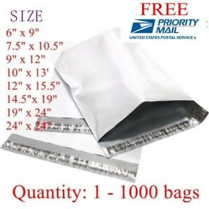 Poly Mailers Shipping Envelope Bags 19x24 6x9 50 100 200 300 500 1000