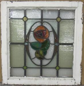 Mid Sized Old English Leaded Stained Glass Window Stunning Floral 21 5 X 22 5
