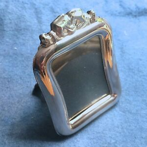 Vintage Miniature Sterling Silver 925 Picture Frame Salome Rect W Bow