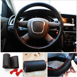 Black Pu Leather Car Steering Wheel Cover 37 38cm With Needles And Red Thread
