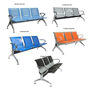 3 Seats Airport Reception Waiting Chair Room Garden Salon Barber Hospital Bench