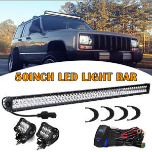 93 98 Jeep Grand Cherokee Zj Off Road Combo 50 Led Light Bar 2x 4 Spot Pods