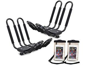 2 X Roof J Rack Kayak Boat Canoe Car Suv Top Mount Carrier W Free Cell Phone Bag