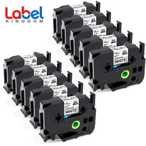 Tze 241 P touch Label Tape Compatible For Brohter 18mm Black On White 10 Pack