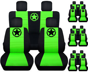 Fits Jk Wrangler 2door Front Back Car Seat Covers Blk Lime Green W Bear Claw