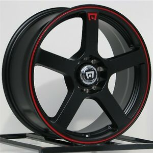 16 Inch Black Red Wheels Rims Motegi Racing Mr116 Mr11667098740 Set Of 4 Lug