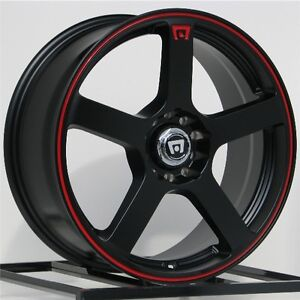 15 Inch 5x100 5x114 3 Wheels Rims Motegi Racing Flat Black 5 Lug Mr116 New Set 4